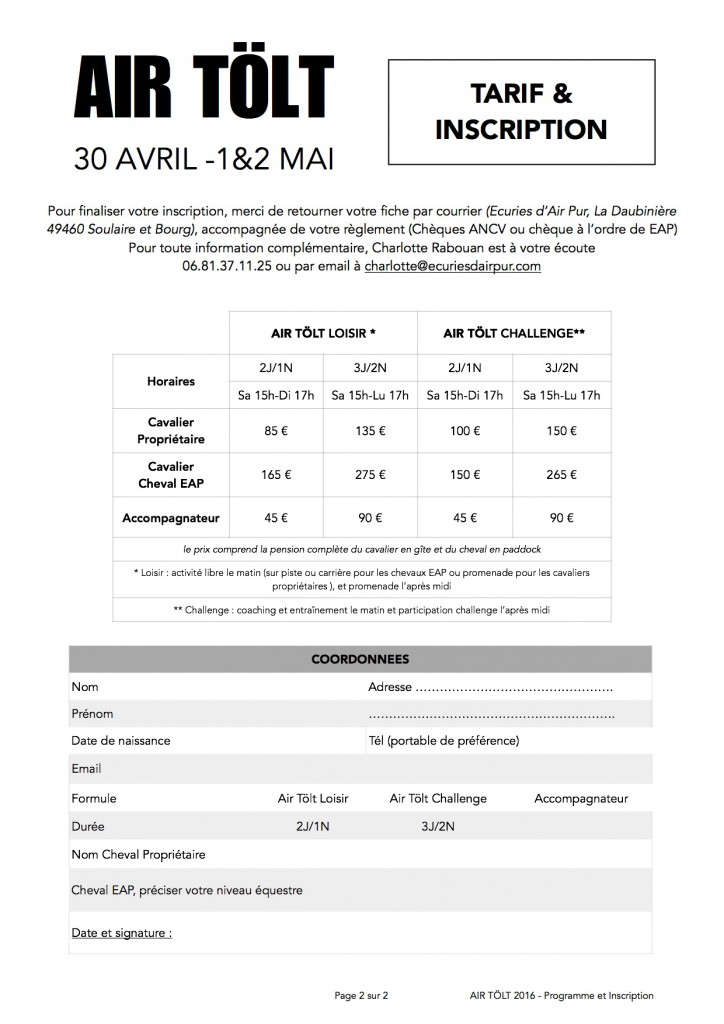 Programme et Inscription AIR TÖLT VERSO