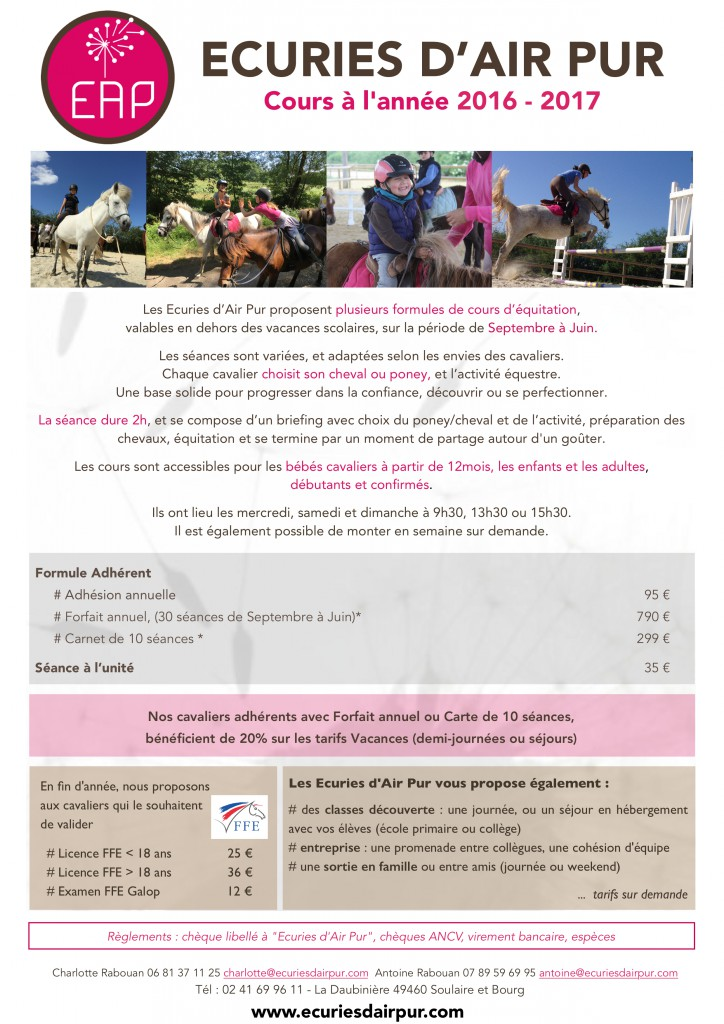 TARIFS EAP Cours 2016-2017