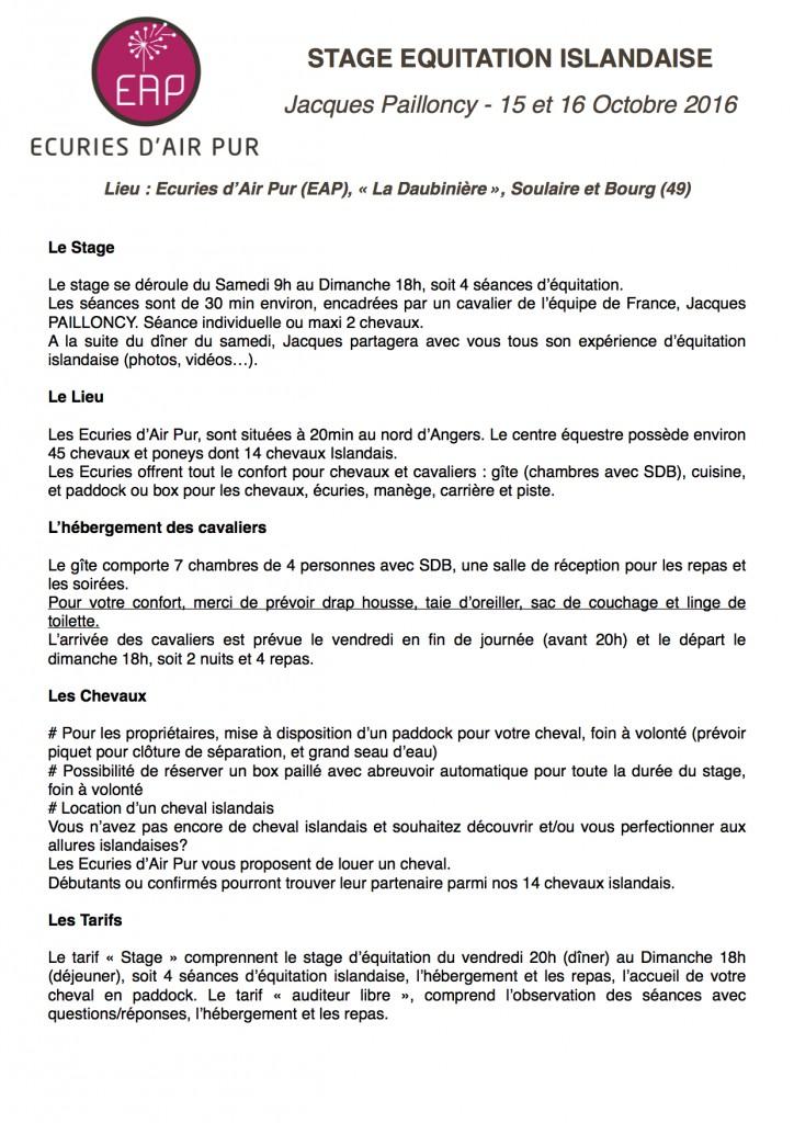 Stage Equitation Islandaise 15:16 Octobre 2016 EAP J. PAILLONCY P1